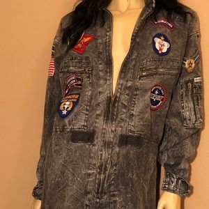 Vintage Chemin De Fer Acid Wash Denim Jumpsuit